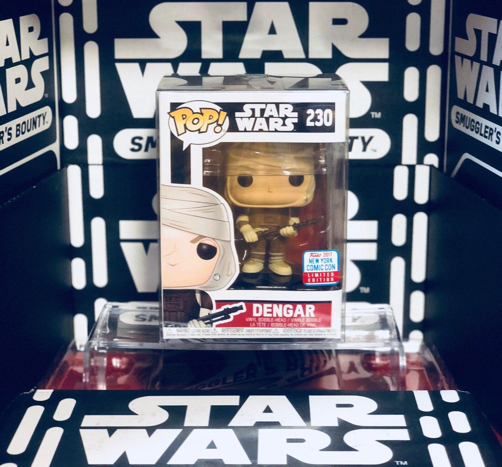 2017 Nueva York Comic Con Exclusive Funko Pop  Estrella Wars Dengar 230 con projoector de la etiqueta engomada y caja