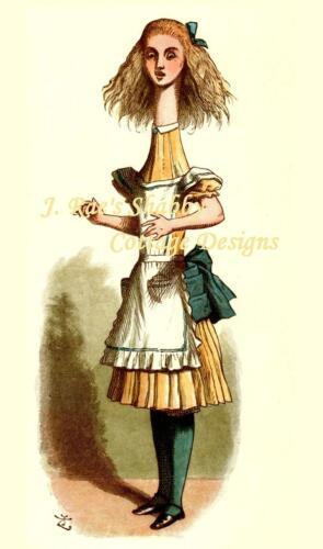 Funny Alice In Wonderland Grown Big Fabric Block 8x10 or 5x7