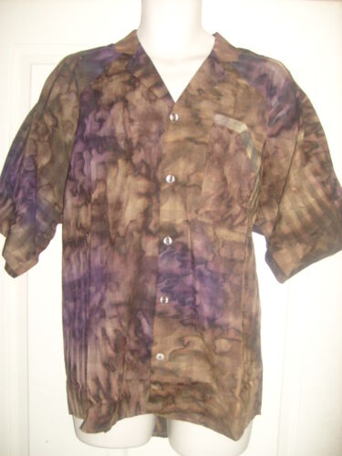 Mens camo green//purple tie-dye collared casual designer Italian shirt top S//M//L