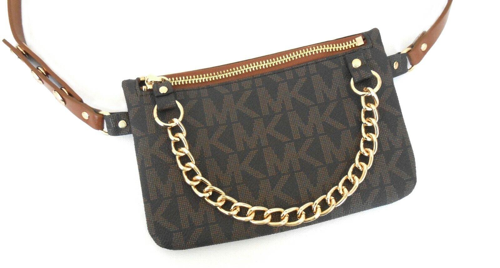 269e23e6eebd Michael Kors MK Logo Chocolate Brown Fanny Pack Belt Bag 554131 Size ...