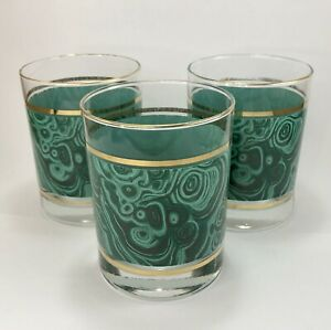 THREE-Vintage-Green-Marbled-Design-Gold-Ring-Drinking-Glasses-Lowball-Rocks-MCM