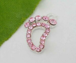 4-x-Silver-Pink-Rhinestone-infant-Foot-baby-Charm-Pendants-SIZE-17x11mm
