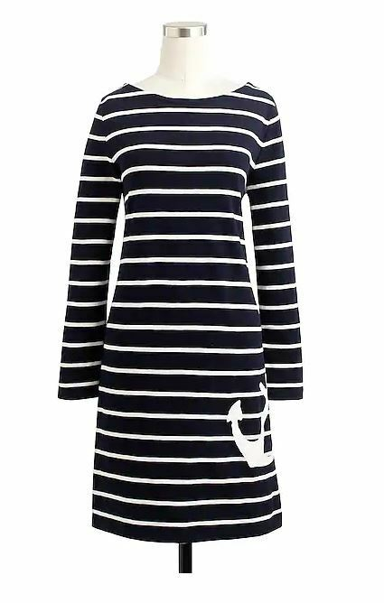 NWT J Crew Anchor Navy White Stripe Nautical Cotton Dress Size XS Retails