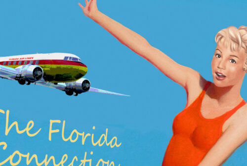 GAINESVILLE Florida Airlines DC3 Plane Travel Poster Sandra Dee Pin Up Print249