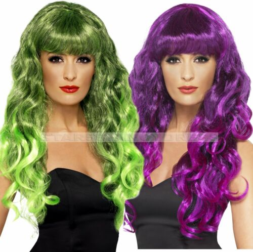 Long Green Purple Siren Wig Mermaid Witch Vampire Fancy Dress Costume Wig
