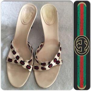 1999f8599f04 GUCCI Green Red Green Ribbon Heels Mules Sandals Slides Size 40.5