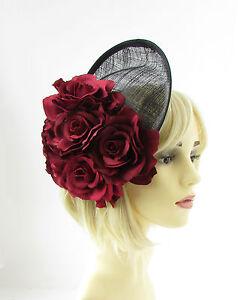 3f990ffb8c6 Image is loading Large-Burgundy-Red-Flower-Black-Saucer-Disc-Fascinator-