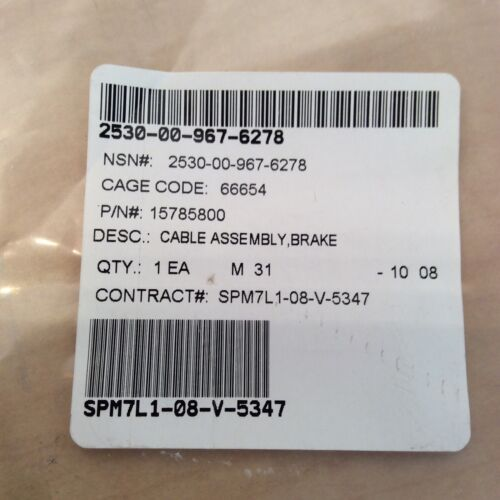 """Lot Of 2 P//N 15785800 Brake Cable Assembly 2530-00-967-6278 67/"""" Push Pull"""