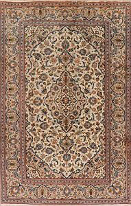 Vintage-Classic-Hand-Knotted-Ivory-Ardakan-Traditional-Area-Rug-6x10-Wool-Carpet
