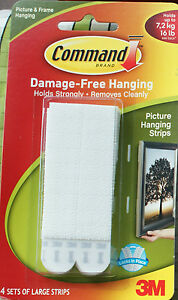 4 Sets 3m Command Strips Large Picture Frame Poster Canvas