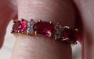 bague élégante bijou plaqué or 18 k rhodié rubis cristaux diamant T.52 1/2 p