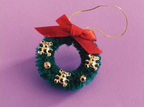 Decorazione Di Natale CORONA Di Natale Teddy Casa delle Bambole Miniatura tempo di Natale