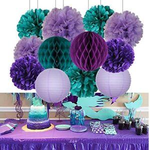 Details About 16 Pcs Mermaid Theme Party Supplies Decorations Teal Purple Lavender Baby Shower