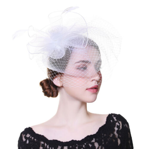Fashion Women Wedding Headpiece Fascinator Flower Hair Clip Pin Feather Headband