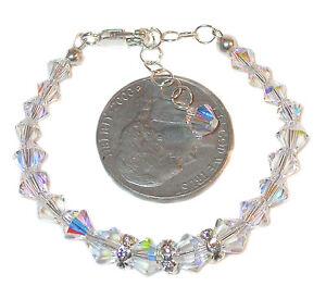 Small-Child-039-s-CLEAR-AB-Crystal-Bracelet-4-25-5-25-034-Sterling-Swarovski-Elements