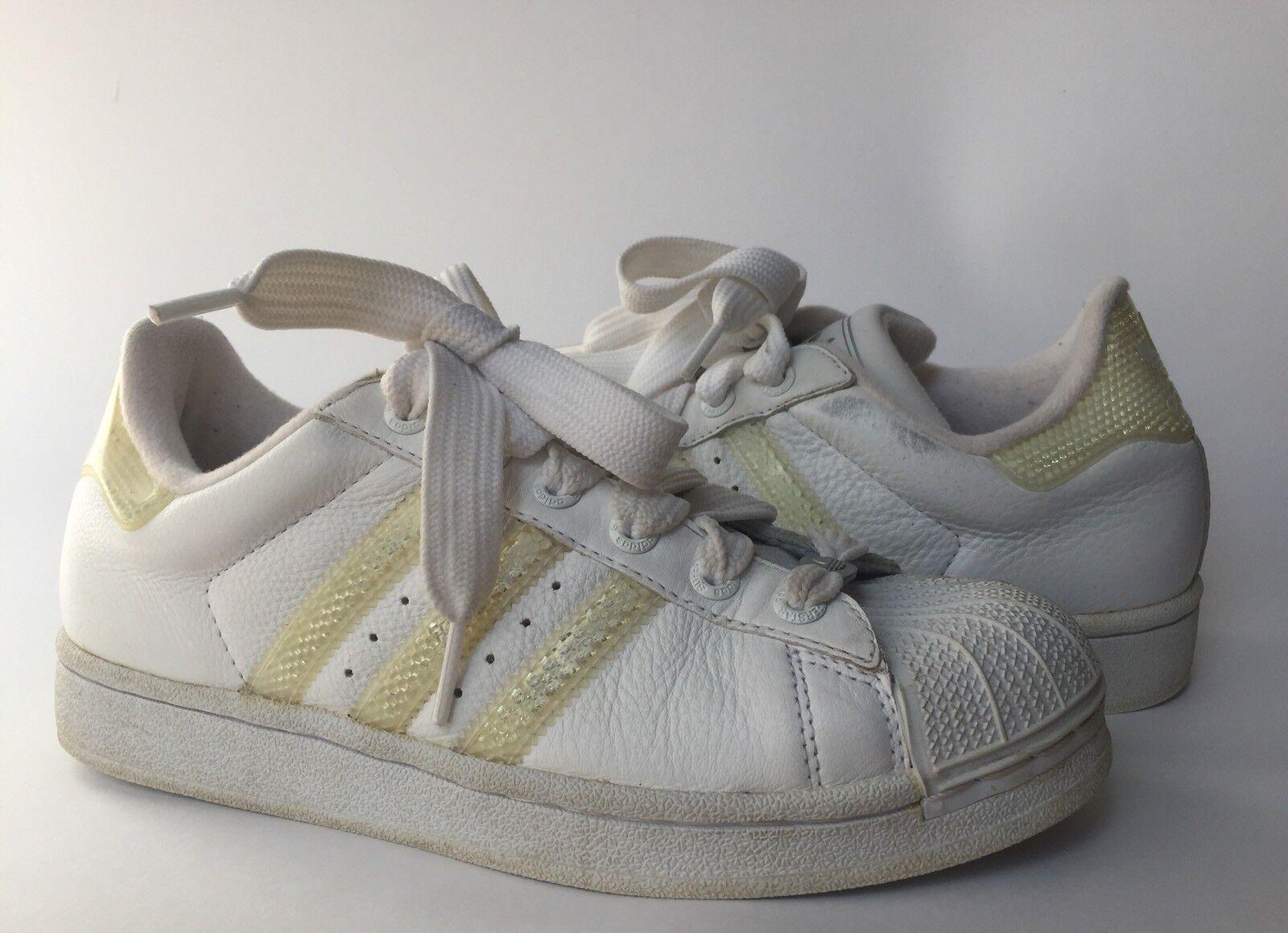 Adidas Superstar tennis Zapatos Blanco w / Reflective Reflective / Stripes US Mujer SZ 8 Vintage gran descuento f38aed