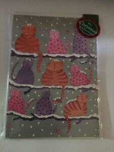 Nine-cats-calling-Cartoon-PInk-orange-purple-12-small-Christmas-cards-SALE