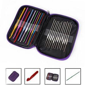 For Crafts Aluminum Crochet Hook Silver Needles Weave Craft Yarn Knit Set 22pcs