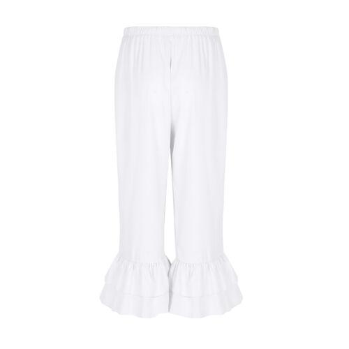 Women/'s Vintage Wide Leg Ruffles Pants Casual Long Trousers Pantaloons Bloomers
