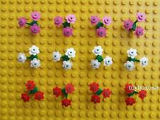 * New * Lego City Town House Friends Flowers  ( Pink White Red ) + Stems Lot Set