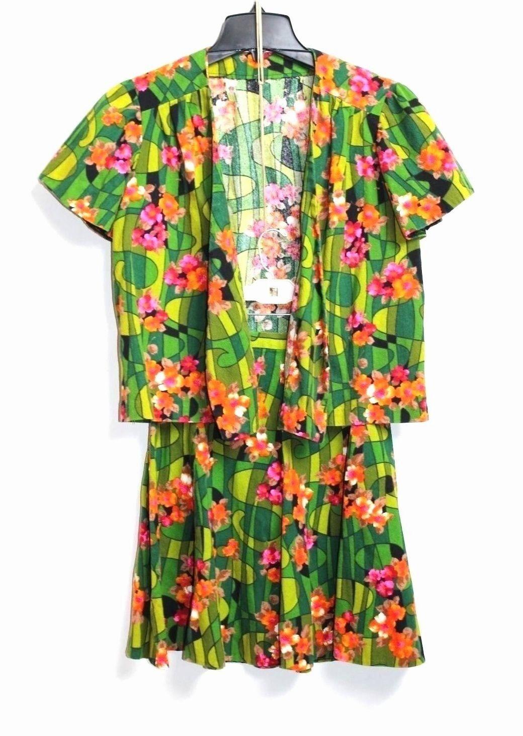 Handmade Handmade Handmade Vero Vintage Anni 70 - XXS XS - Multicolore Gonna a Fiori + S S Giacca 05a19d