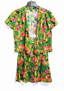 Handmade-True-Vintage-70s-XXS-XS-Multi-Color-Floral-Skirt-S-S-Jacket-Set