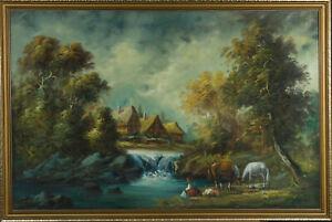 L. Lucas - 20th Century Oil, Idyllic River Landscape