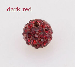 Shamballa-Beads-200-Pcs-Crystal-Pave-Disco-Balls-Fit-Bracelet-10MM-Dark-Red