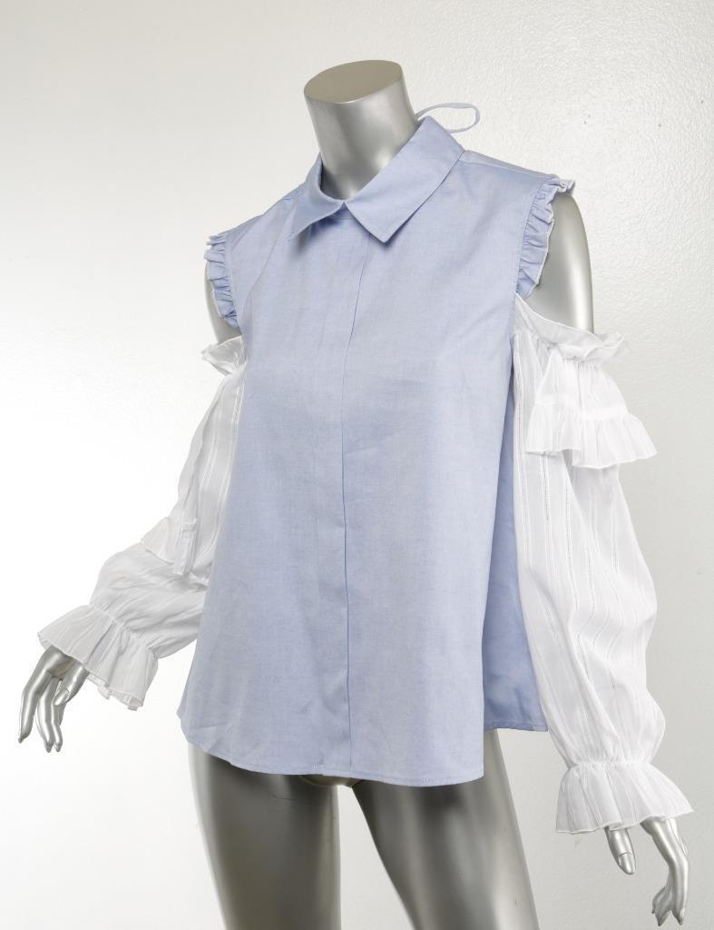 SANDY LIANG damen Blau + Weiß Ruffle Puff-Sleeve Collar Blouse Top 10 42 NEW