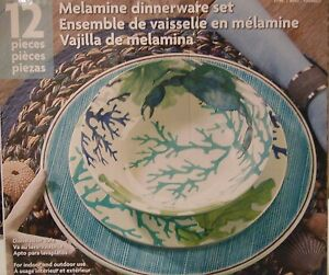 Image Is Loading New 12 Piece Melamine Dinnerware Set Dishwasher Safe