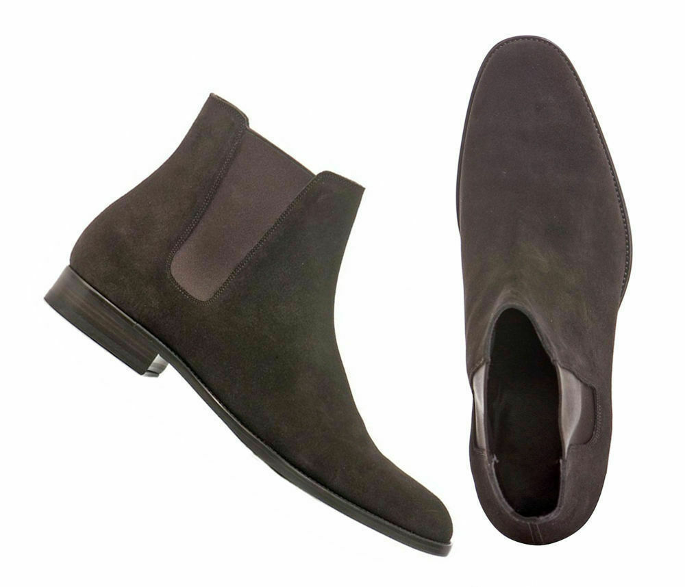 Mens Handmade Boots Patent Suede Chelsea Leather Sole Formal Casual Wear Shoes