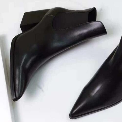 cuir pompes a femmes noires pointu tirer sur des chaussures en Les bottines bloc talon bout chic nBExgBqf6
