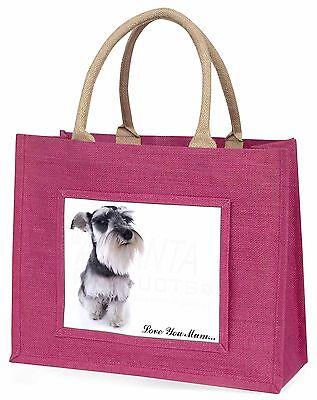Schnauzer-hund 'Liebe, die Sie Mama' Große Rosa Einkaufstasche Weihnachten Vor,