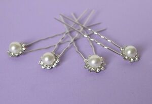 Diligent Wedding Hair Pins X 4 Silver Pearl Flower Shape Diamante Wedding Bridesmaids Distinctive Pour Ses PropriéTéS Traditionnelles
