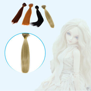 BJD SD Straight Doll Wigs Synthetic Hair For Dolls 15cm Color Gold Beige J4V6