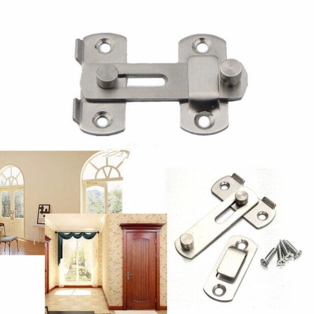 Stainless Steel Home Safety Gate Door Bolt Latch Slide Lock Hardware+Screw  JR