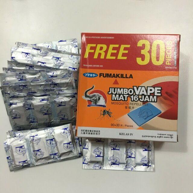 90 PCS + 30 PCS FUMAKILLA MOSQUITO REPELLENT MAT REFILL THERMACELL 16 HOURS