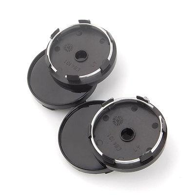 4Pcs Black 60mm Diameter SUV Car Wheel Center Cap Covers Rim Hole No Logo Hubcap