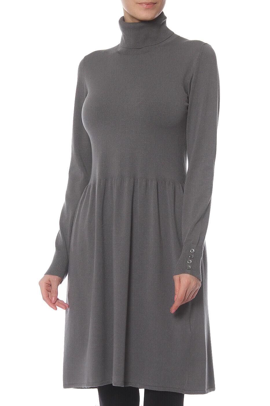 Riani Kleid in grau mit Rollkragen, knielang , langarm, Größe 38