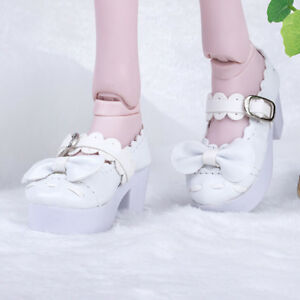Fashion Bowknot High Heels Shoes for 1//3 BJD Dolls Accessoreis White