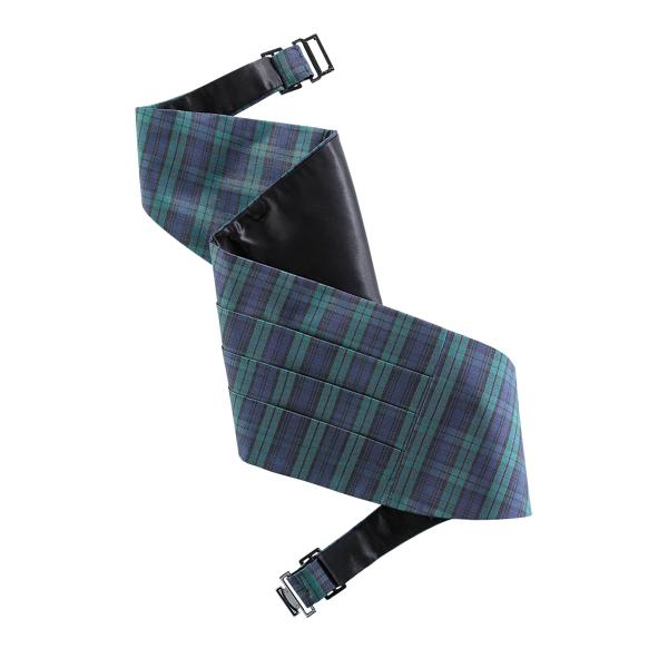 New Polo Ralph Lauren Black Watch Tartan Silk Cummerbund L/XL HANDMADE IN ITALY