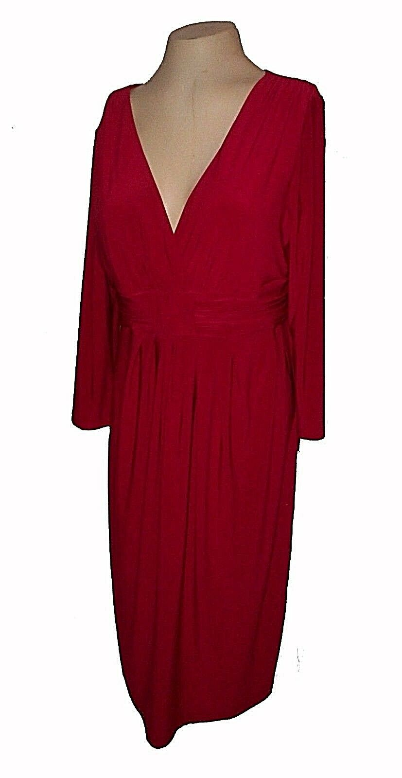 New Dress, Jones New York, rot Knit Wrap-bodice Shirrot Draping MSRP-  12