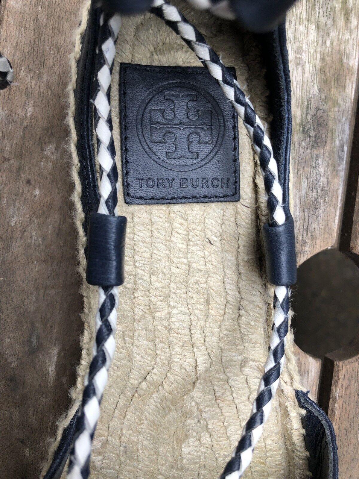Tory Burch Burch Burch Positano Navy bluee Sandals Espadrilles Ballerina Flats Lace Up 75d795