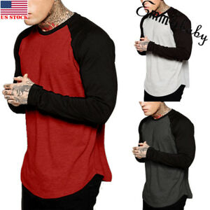 Men-Baseball-Long-Sleeve-T-Shirt-Crew-Fashion-CAMO-Sports-Team-Jersey-Raglan-Tee