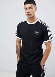 Details about adidas Originals Retro Tee 3 Stripe Trefoil 70s T Shirt‏ Black & White BNWT