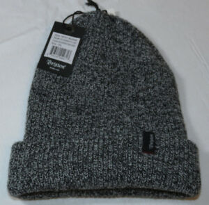 Brixton-Heist-Beanie-knit-hat-skull-cap-lid-NEW-One-Size-black-heather-grey-NWT