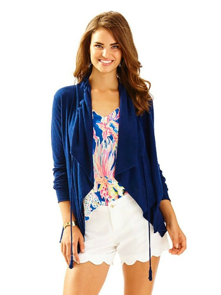 178 NEW Lilly Pulitzer ELYN LIGHT CARDIGAN True Navy Navy Navy bluee Open Front S 3e1122