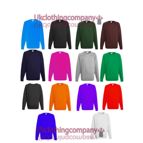 FRUIT of The Loom Da Uomo Leggero Raglan Sweater-Maglione adulto S M L XL 2XL