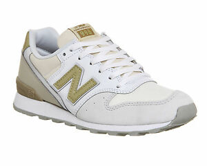 super popular 45e3b 8e50f Image is loading New-Balance-996-WHITE-GOLD-Trainers-Shoes