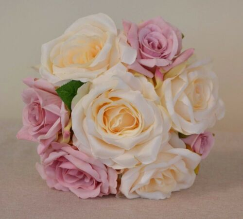 Ivory /& dusty pink rose wedding bouquet flowers buttonholes corsage groom wand